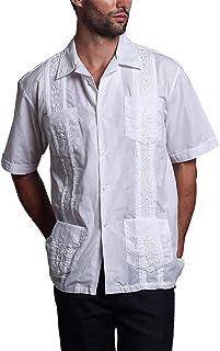 G-Style USA Men's Short Sleeve Cuban Guayabera Shirt 2000-1 - White - X-Large