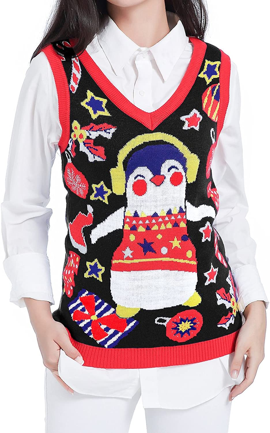 Ugly Christmas Sweater, V28 Women Girl Cute Vintage Knit Xmas Pulli Sweater Vest