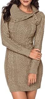 CORAFRITZ - Vestido informal de invierno de manga larga para mujer, color liso, cuello alto, con tapeta de botones diagona...