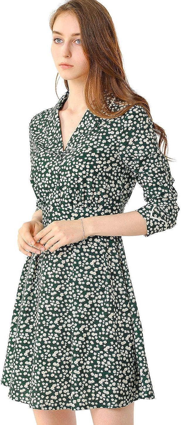 Allegra K Women's Bohemian Floral Long Sleeve Deep V Neck Elastic Waist Back Chiffon Vintage Dress
