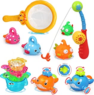 LEADSTAR Juguetes de Baño para Bebé,12PCS Juguetes Bañera Flotante con Juegos de Pesca para Bebe Niños Agua Piscina Baño P...