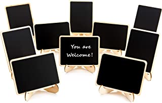10 Pack Mini Chalkboards Signs with Easel Stand, Small Rectangle Chalkboards Blackboard, Wood Place Cards for Weddings, Birthday Parties, Message Board Signs and Event Decoration