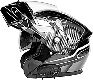 GAOZHE Apribili e Modulare Integrale CascoCasco Moto Integrale Doppia Visiera Caschi Modulare Donna Uomo Caschi Apribili Leggero per Moto Scooter