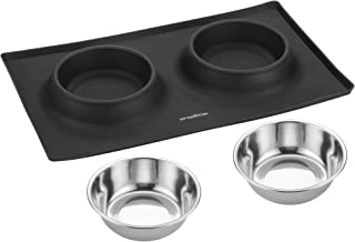 Giftsdotcom Dog Bowls for Small Dogs - Dog Food and Water Bowl Include Stainless Steel Puppy Bowls for Small Dogs or Cats - Small Dog Bowls with Silicone Mat and Dish Holder - Easy Cleanup