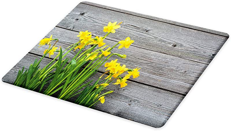 Ambesonne Yellow Flower Cutting Board Bouquet Of Daffodils On Wood Planks Gardening Rustic Country Life Theme Decorative Tempered Glass Cutting And Serving Board Small Size Yellow Grey
