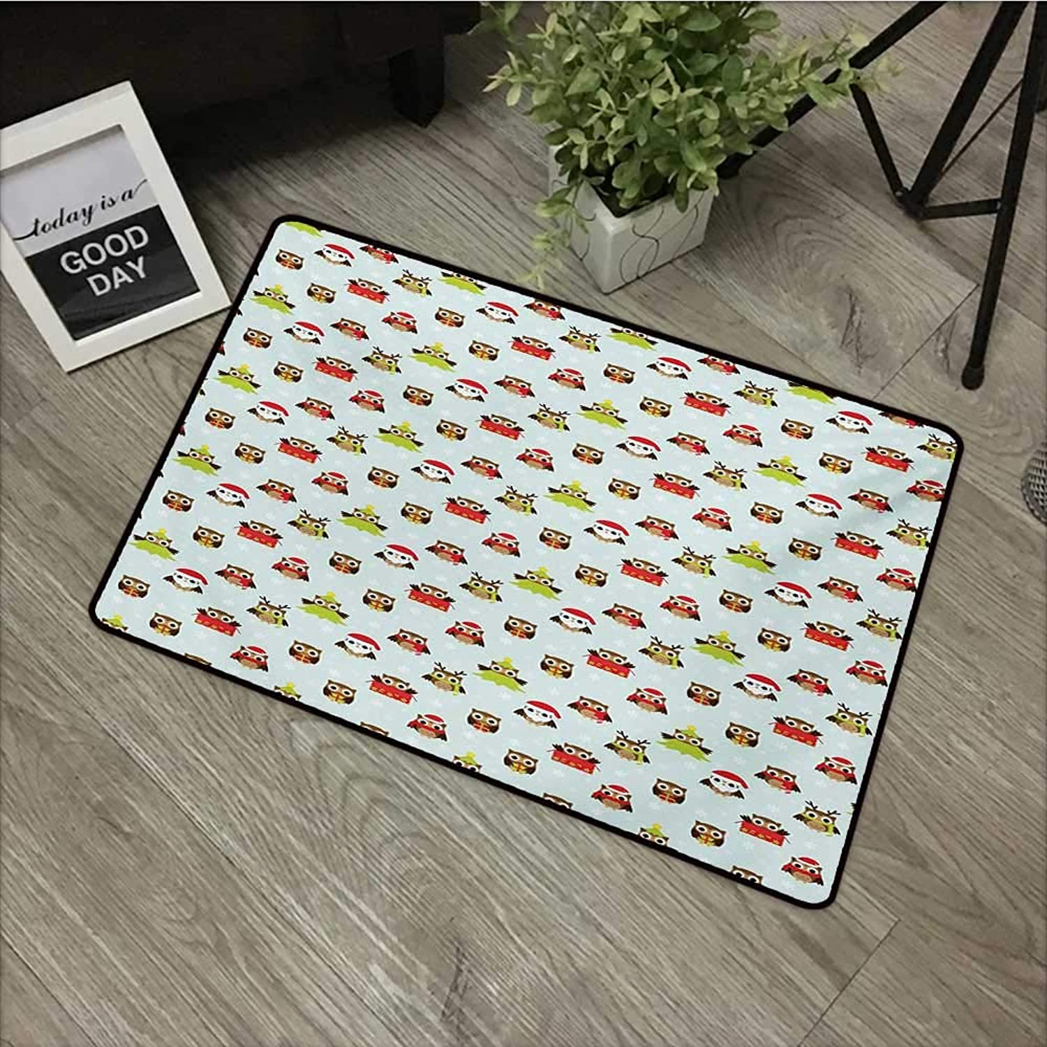 Restaurant mat W35 x L59 INCH Owls,Christmas Theme with Sweet Celebration Icons Santa Claus Pine Tree Owls with Presents,Multicolor with Non-Slip Backing Door Mat Carpet