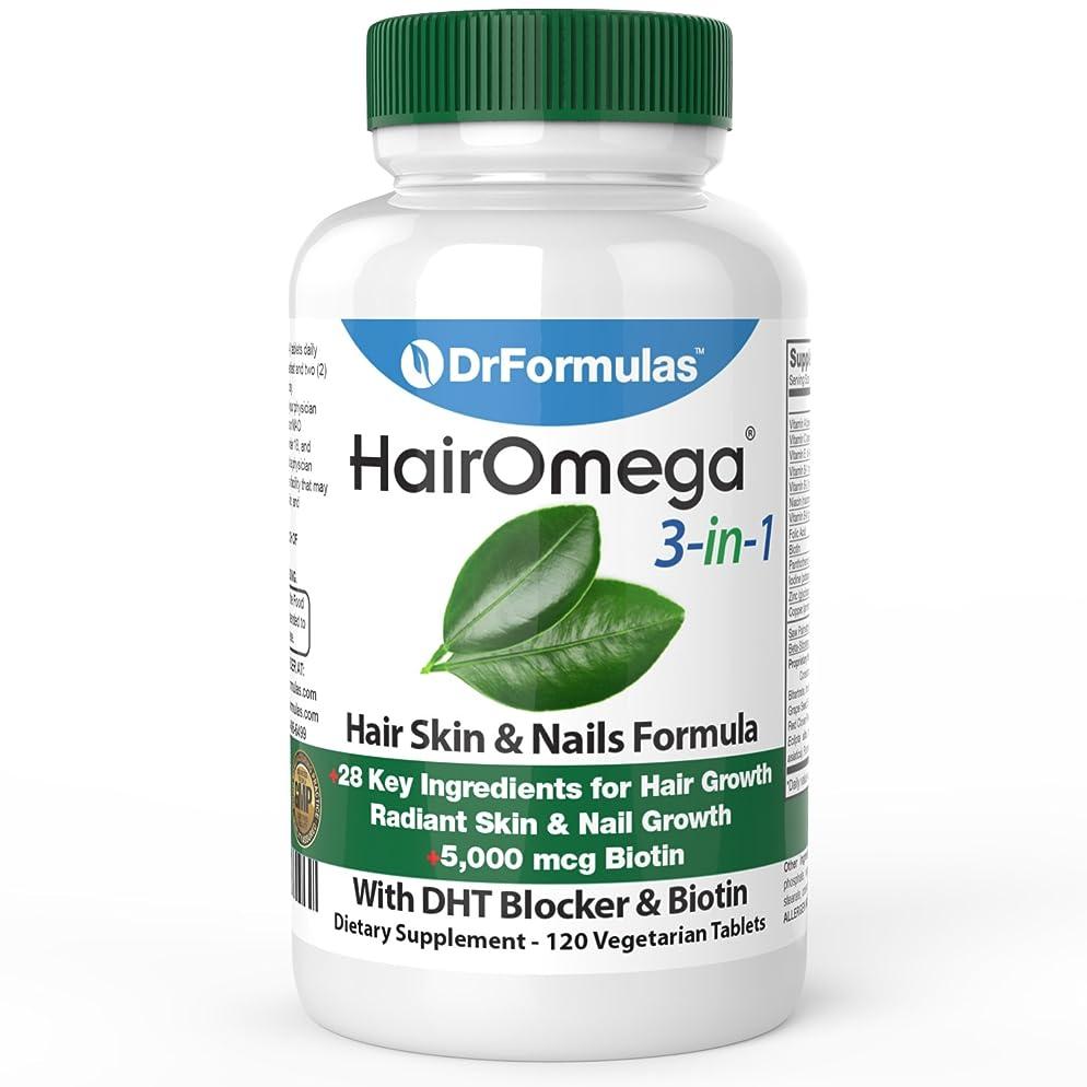 DrFormulas HairOmega 3-in-1 Hair Growth Vitamins with DHT Blocker, Biotin for Women & Men   Hair Skin and Nails Supplement for Hair Loss, 120 Pills