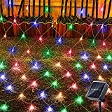 Solar Net String Lights Outdoor, 200 LED 9.8ft x 6.6ft with 8 Lighting Modes Upgraded Solar Powered Tree Wrap Mesh Fairy Twinkle Lights for Patio Yard Bushes Christmas Party Decorations (Multicolor)