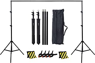 COOPIC S02 2m x 2m Photography Video Studio Background Stand with 2 Sand Bag Yellow Black and 4 Clamp Kit Set