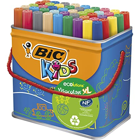 Bic Kids Rotuladores Lavables para Niños, Óptimo para material escolar,Visacolor XL, Punta Gruesa, Con Etiqueta Ecológica, Caja de 48
