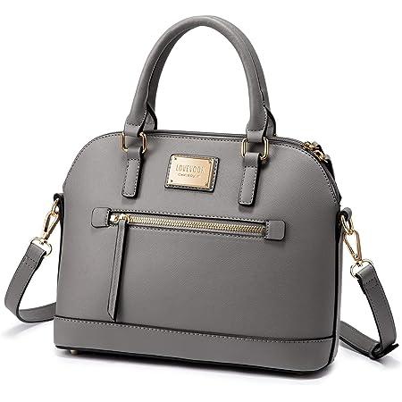 LOVEVOOK Handtasche Damen Umhängetasche PU Leder Elegant Schultertasche mit Doppel Reißverschluss Kleine Tasche Crossbody Bag Taschen Handtaschen, Grau