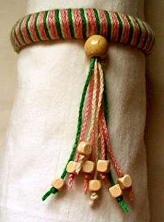 Tri-color Yarn Wrapped Boho Bangle Bracelet, Green, Pink, and Off-white with Wooden Cube Beads