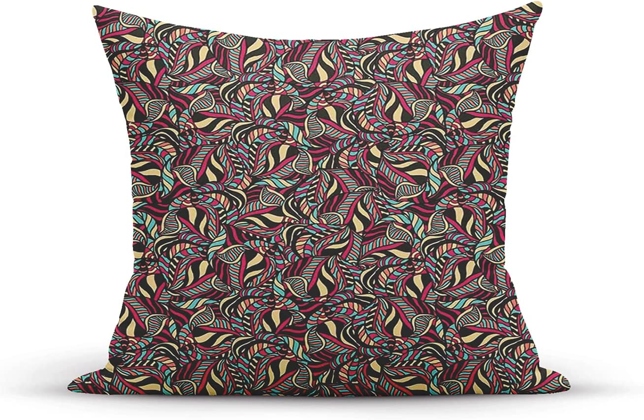 Decorative Throw Free Shipping Cheap Bargain Now on sale Gift Pillow Cover Composition Foliage Drawn Colorful