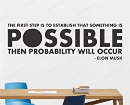 Wallency Motivational Quote Wall Decal by Elon Musk - Removable Quote Wall Sticker