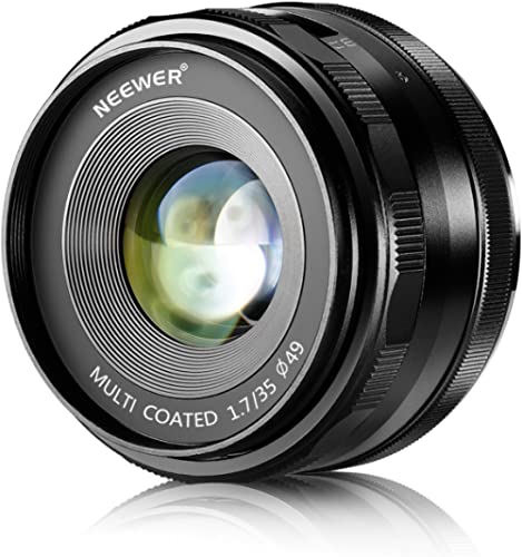 NEEWER 35mm F/1.7 Large Aperture Manual Prime Fixed Lens APS-C for Sony E-Mount Digital Mirrorless Cameras A7III A9 N...