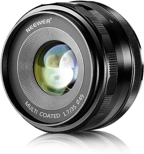 Neewer 35 mm f/1.7 Lentes con Fuego Manual para cámaras Digitales Sony E-Mount con Sensor APS-C como Sony A7III A9 NEX 3 3N 5 NEX 5T NEX 5R NEX 6 7 A6400 A5000 A5100 A6000 A6100 A6300 A6500