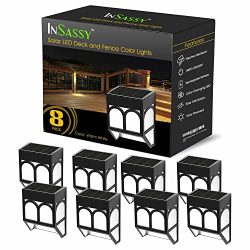 InSassy Solar Wall Lights Outdoor - Wireless Led Waterproof Security Lighting for Deck, Fence,