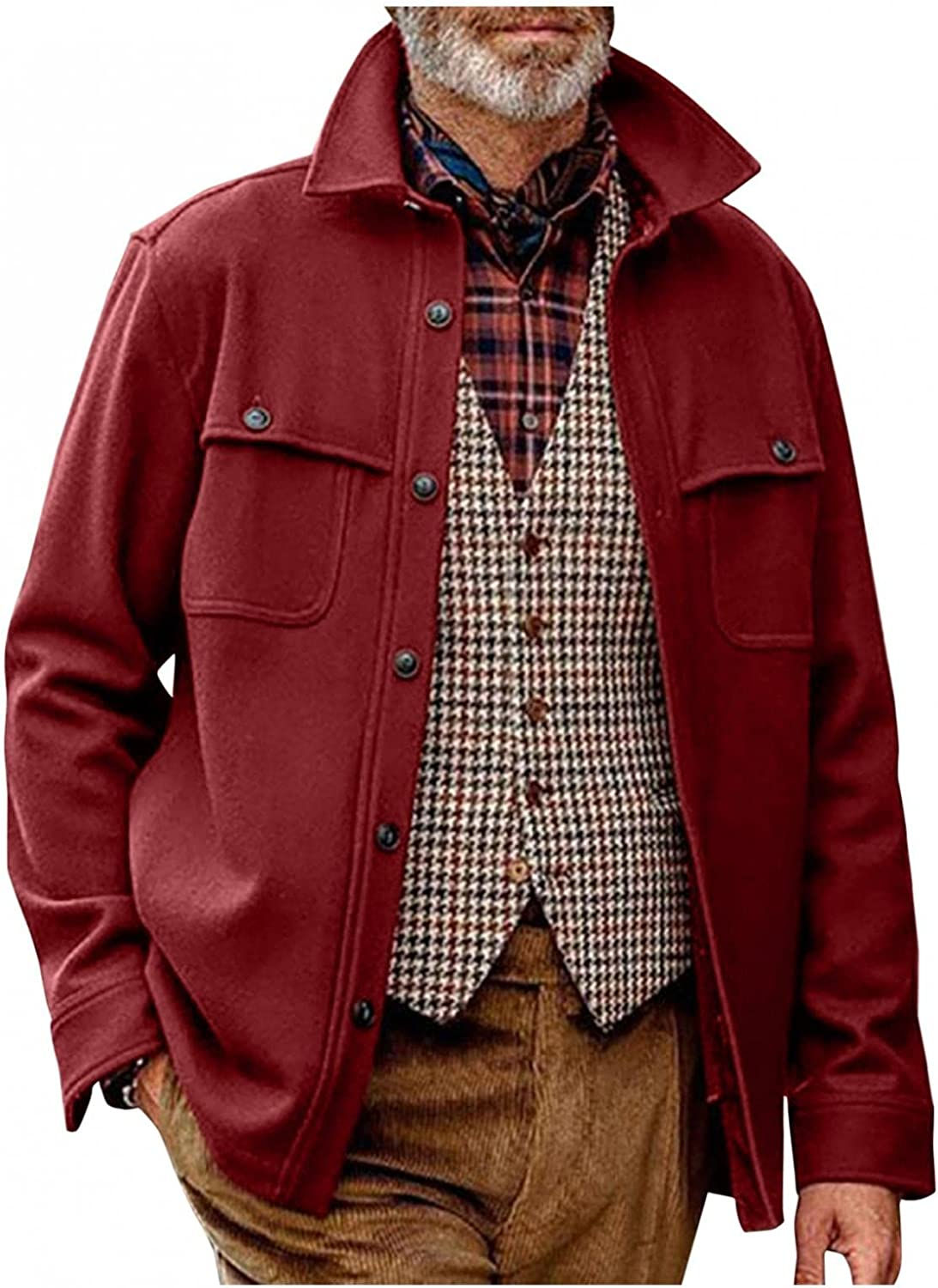 FUNEY Jackets for Men Stand Collar Wool Blend Single Breasted Military Pea Coat Loose Casual Autumn and Winter Clothing