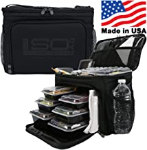 Isolator Fitness 6 Meal ISOCUBE Meal Prep Management Insulated Lunch Bag Cooler with 12 Stackable Meal Prep Containers, 3 ...