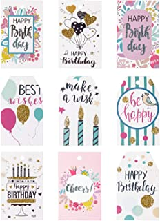 WRAPAHOLIC Gift Tags with String - 54PCS Birthday Paper Tags with Glitter Celebrating Candles, Balloons Pattern Design for Birthday, Party Favors, Baby Shower