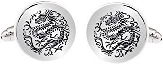 Kooer Personalized Engraved Chinese Dragon Cuff Links Tie Clip Set Engrave Black Dragon Cufflinks Gift for Men