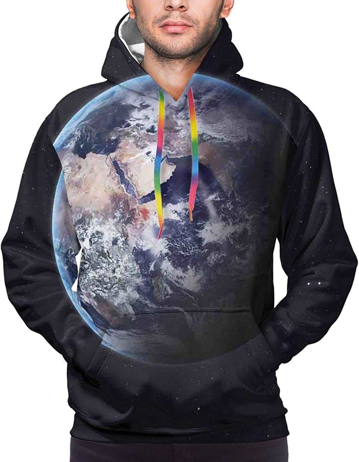 Men's Hoodies Sweatshirts,Planet Covered with Blue Seas and Forest Continents Trees Greenery Nature