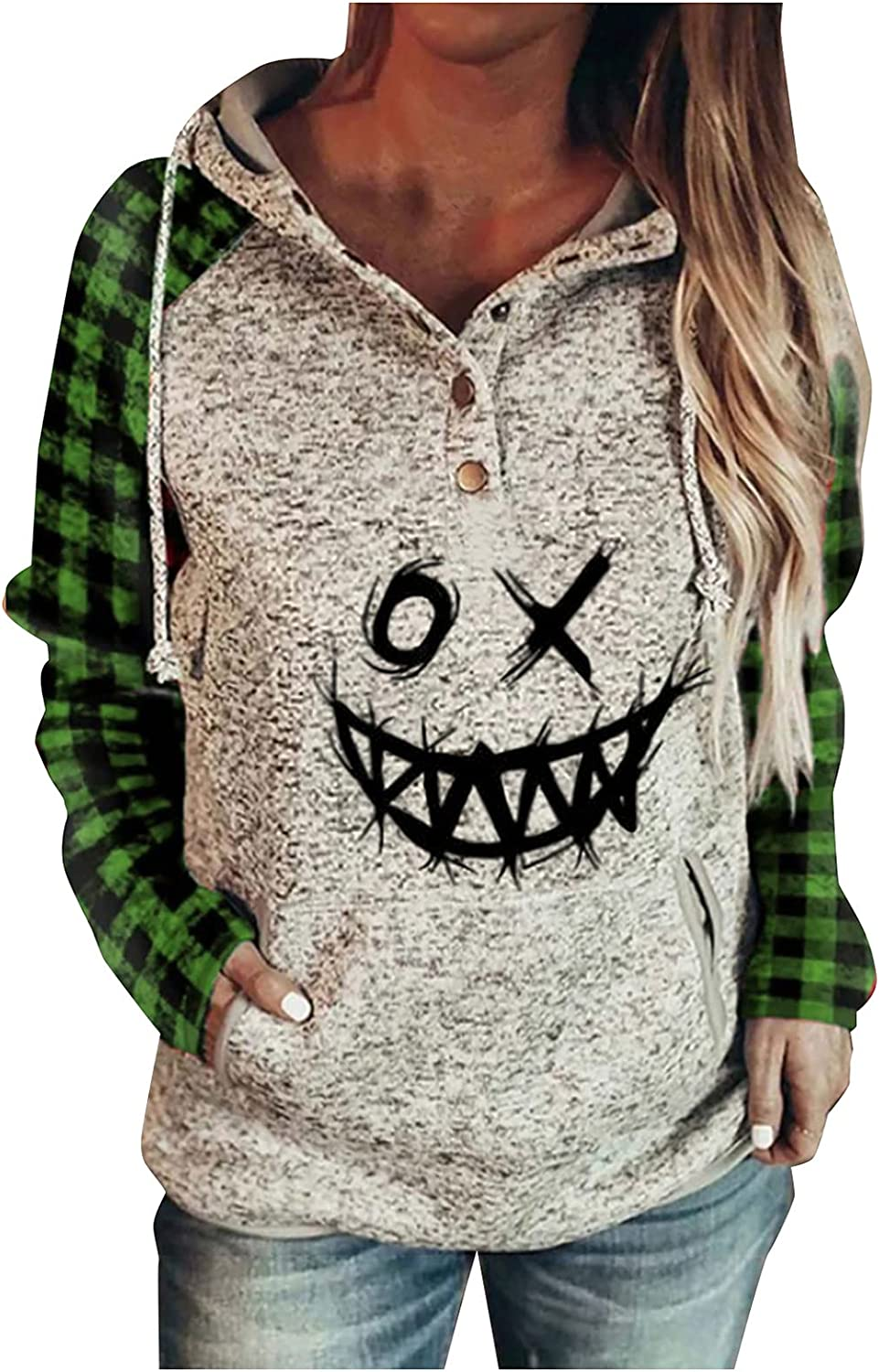 Womens Halloween Colorblock Printing Crewneck Long Sleeve Button Pullover Sweatshirts Hoodie Top with Pocket