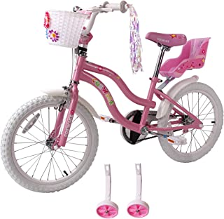 FOUJOY Kids Bike Princess Style 12-14-16 Inch for 2-8 Years Old Girls Children's Bicycle with Flower Basket and Training Wheels