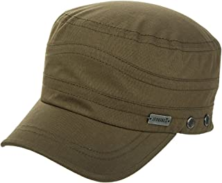 Jeff & Aimy Mens Cotton Military Cadet Army Cap Flat Top Baseball Sun Hat Adjustable
