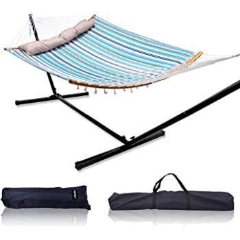 "Ohuhu Double Hammock with 12.8 FT Hammock Stand, 55"" x 75"" Quilted Fabric Hammock Swing with Strong Curved-Bar Bamboo & Pillow, Stable Detachable Metal Stand, Bonus 2 Carrying Bag, Blue & White Strip"