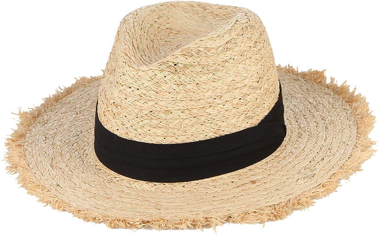 Tan Tweed Straw Kettle Brim Hat With Black Silk Ribbon Bow Trim  Women/'s 2 Inch Brim Sun Hat  Retro Style Straw Kettle Brim Hat