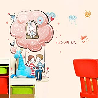 Amazon Brand - Solimo Wall Sticker for Bedroom (Cute Pair Nest ), Ideal Size on Wall: 70 x 67 cm