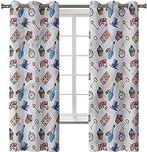 Rideaux occultants pour chambre à coucher, isolation thermique, motif Alice au pays des merveilles, cupcake, 2 panneaux de...
