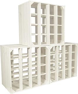 CHICCIE Wino, set van 3 wijnrekken van hout, kleur wit + plank houten kist