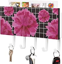 Crochet de clé fixé au mur, support mural de trieuse de courrier, organisateur de porte-clé de courrier, pivoines rouges ...