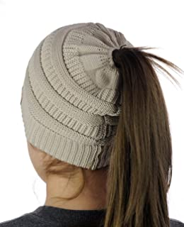 BeanieTail Cotton Blend All Season Daily Messy High Bun Ponytail Beanie Hat