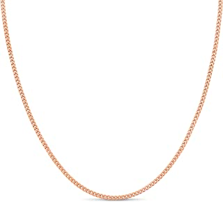 Kezef Rose Gold Plated 925 Sterling Silver 1.8 mm Curb Chain Necklace Bracelet Anklet