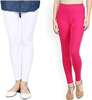 FashGlam Women Premium Ankle Length Leggings Combo - White,Hot Pink