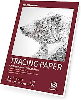 (9 × 12) - Bachmore 9 بوصة × 12 بوصة ، 75 ورقة - ورق تتبع شفاف للأقلام الرصاص وأقلام التحديد والحبر - صور تتبع والرسم والر...