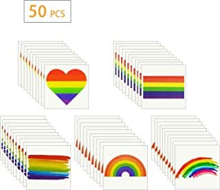 50 Pieces Rainbow Temporary Tattoos, Waterproof Rainbow Flag Tattoo Stickers for Pride Equality Parades and Celebrations (5 Styles)