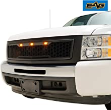 EAG Replacement Upper ABS Grille LED Grill with Amber LED Lights - Matte Black Fit for 07-13 Chevy Silverado 1500