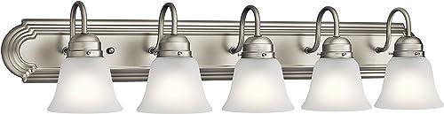 high quality Kichler Lighting 5339NIS Five popular Light Bath, Brushed wholesale Nickel sale