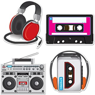 """Beistle 54667 Cassette Player Cutouts, 12"""" - 14"""", 4 Cutouts In Package"""