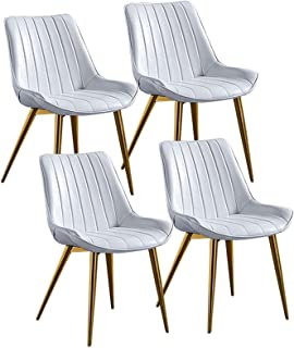 ZYXF Sillas Paquete De 4 Sillas De Comedor Sillas Cocina Nórdicas Cuero Sintético Sillas Bar Metal Silla De Oficina Dining Chairs (Color : White)