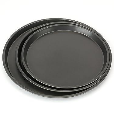 Bekith 3-Piece Set Non-stick Pizza Pan, Round Premium Bakeware, Black