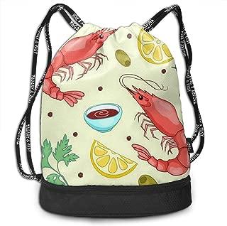 Sport Bundle Drawstring Backpack Lobster Lemon Travel Durable Large Space Gym Sack Stylish