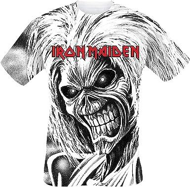 Iron Maiden Killers Allover Hombre Camiseta Blanco, Regular