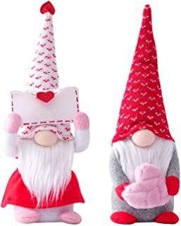 2PCS Valentines Day Gnome Decorations,Handmade Elf Plush Doll,Mr and Mrs Scandinavian Tomte for Valentine`s Day Table Orna...