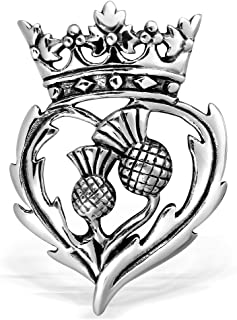 WithLoveSilver 925 Sterling Silver Scottish Style Thistle Heart Luckenbooth Brooch