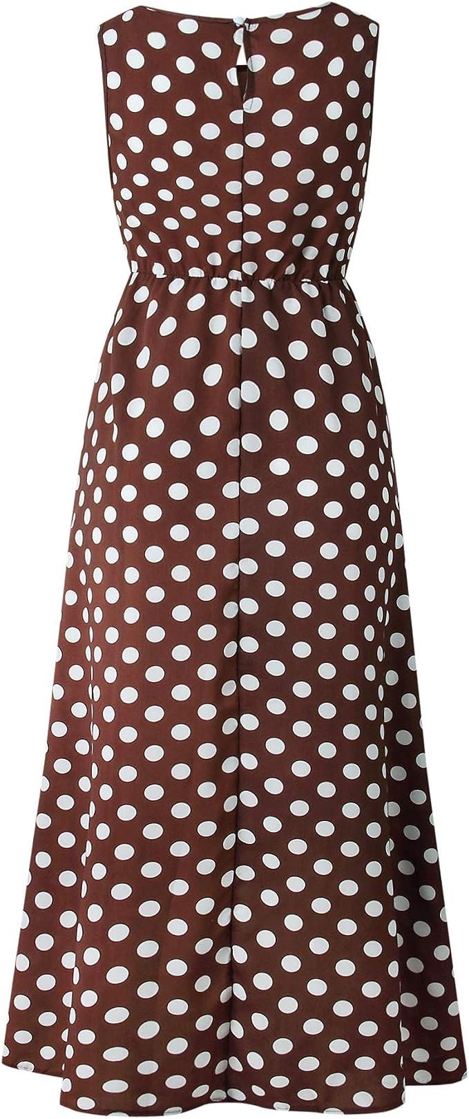 80s Costumes, 80s Clothing Ideas- Girls YHBAO Womens Vintage Polka Dot Printing Sleeveless Long Dress Evening Party Sexy Dress  AT vintagedancer.com